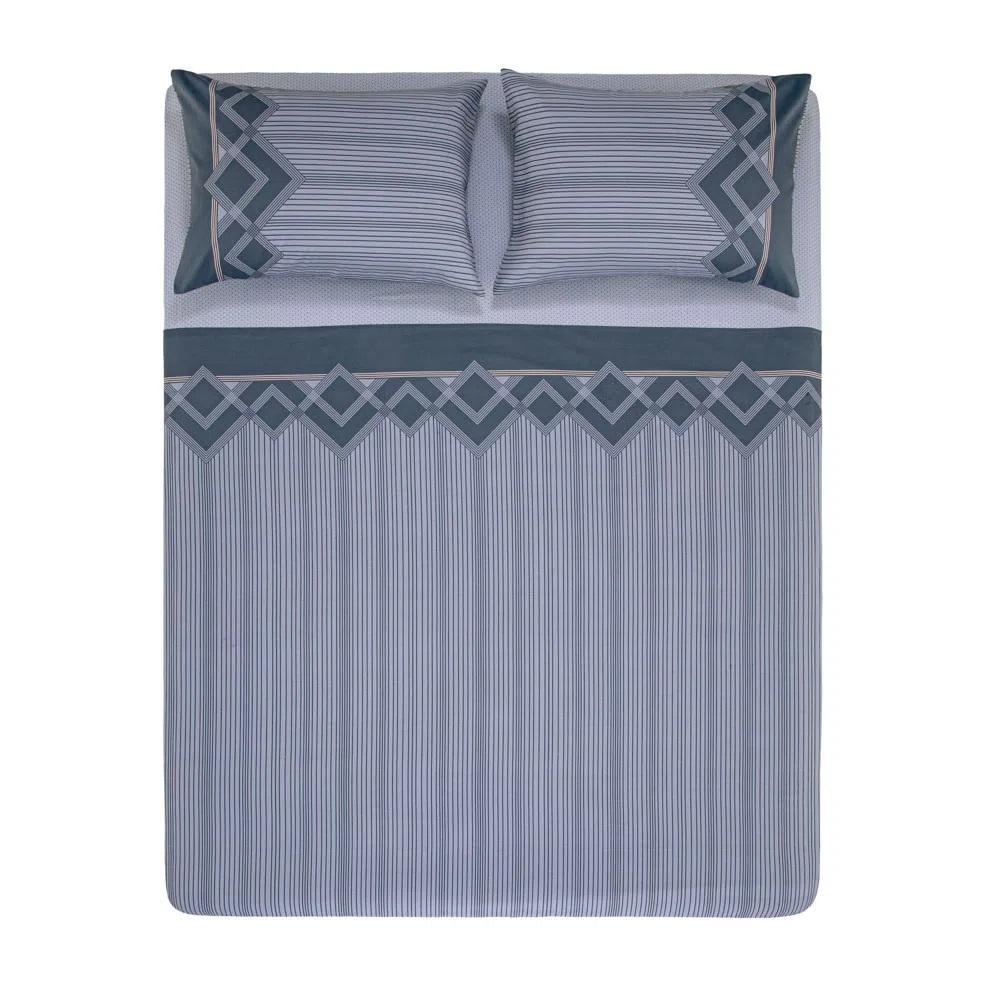 Jogo de lençol Solteirão 100% algodão Azul Valentino karsten