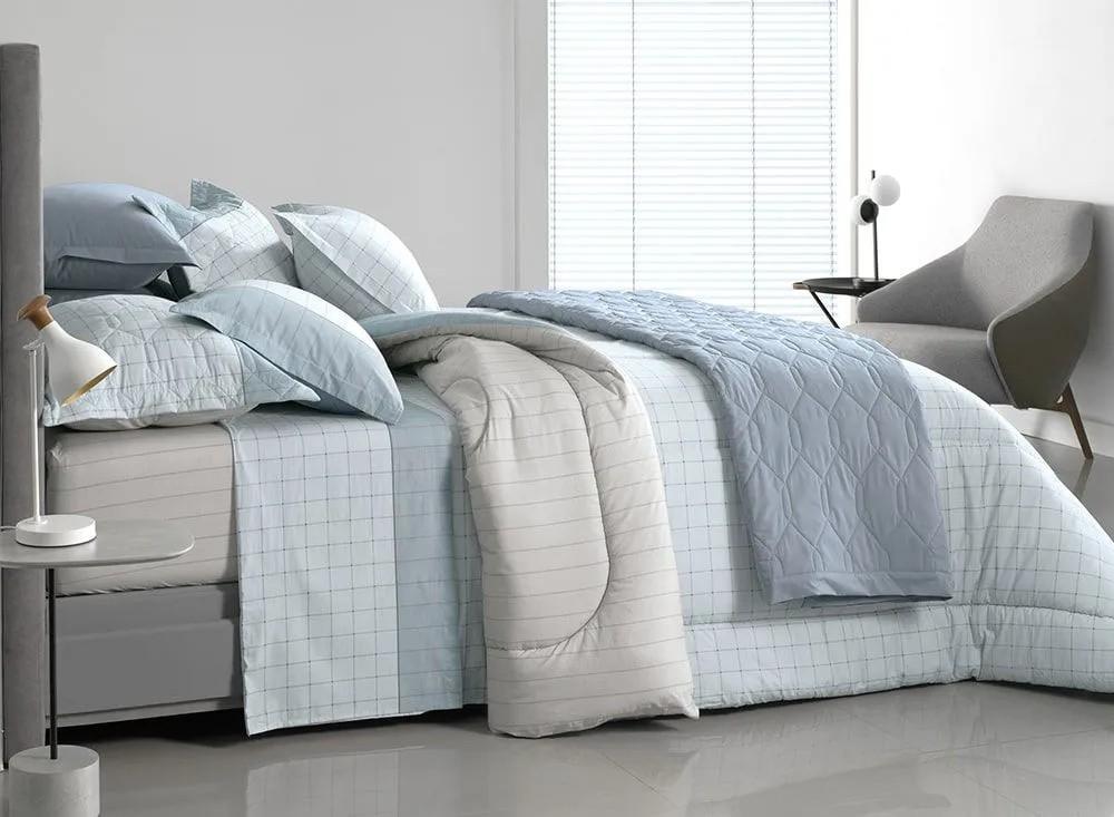 Jogo de lençol solteirão / solteiro king nodari – quadriculado neutro tons de cinza e azul - karsten