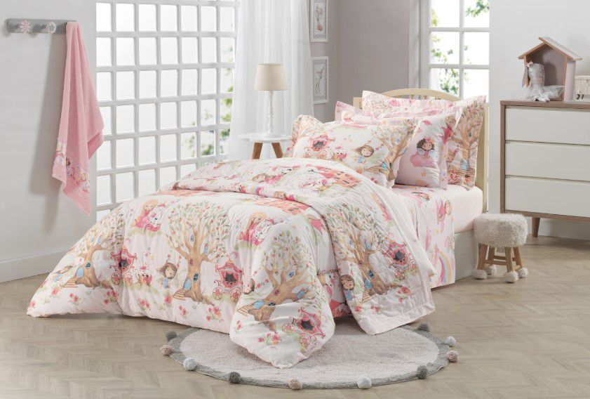 Jogo de lençol solteiro/solteirão princesa e unicórnio encantada 100% algodão 3 peças – karsten