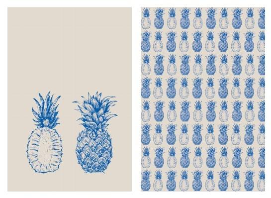 Jogo de Panos de Prato Modernos Abacaxi Azul Paloma Home