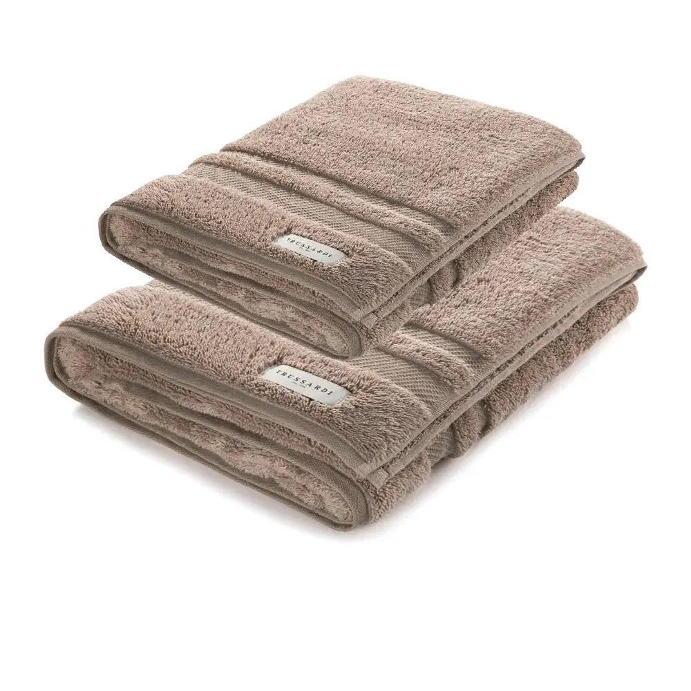 Jogo de toalha banhão Lorenzi-2 peças (corpo e rosto) 560 gramas – Trussardi Bege Legno