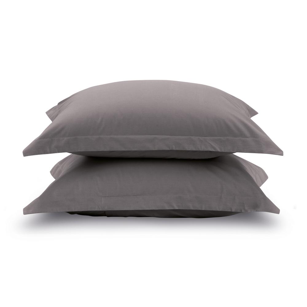 Kit 2 fronhas lisas - Cinza grafite avulsas - 100% algodão extra macio - liss karsten