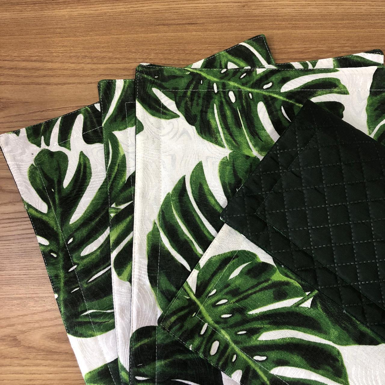 Kit 4 Jogos americanos Verde Musgo Costela de Adão - Paloma Home