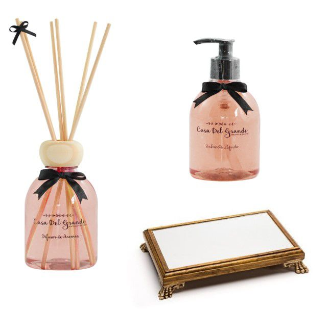 Kit lavabo vanilla - palmarosa (difusor + sabonete + bandeja espelhada) casa del grande
