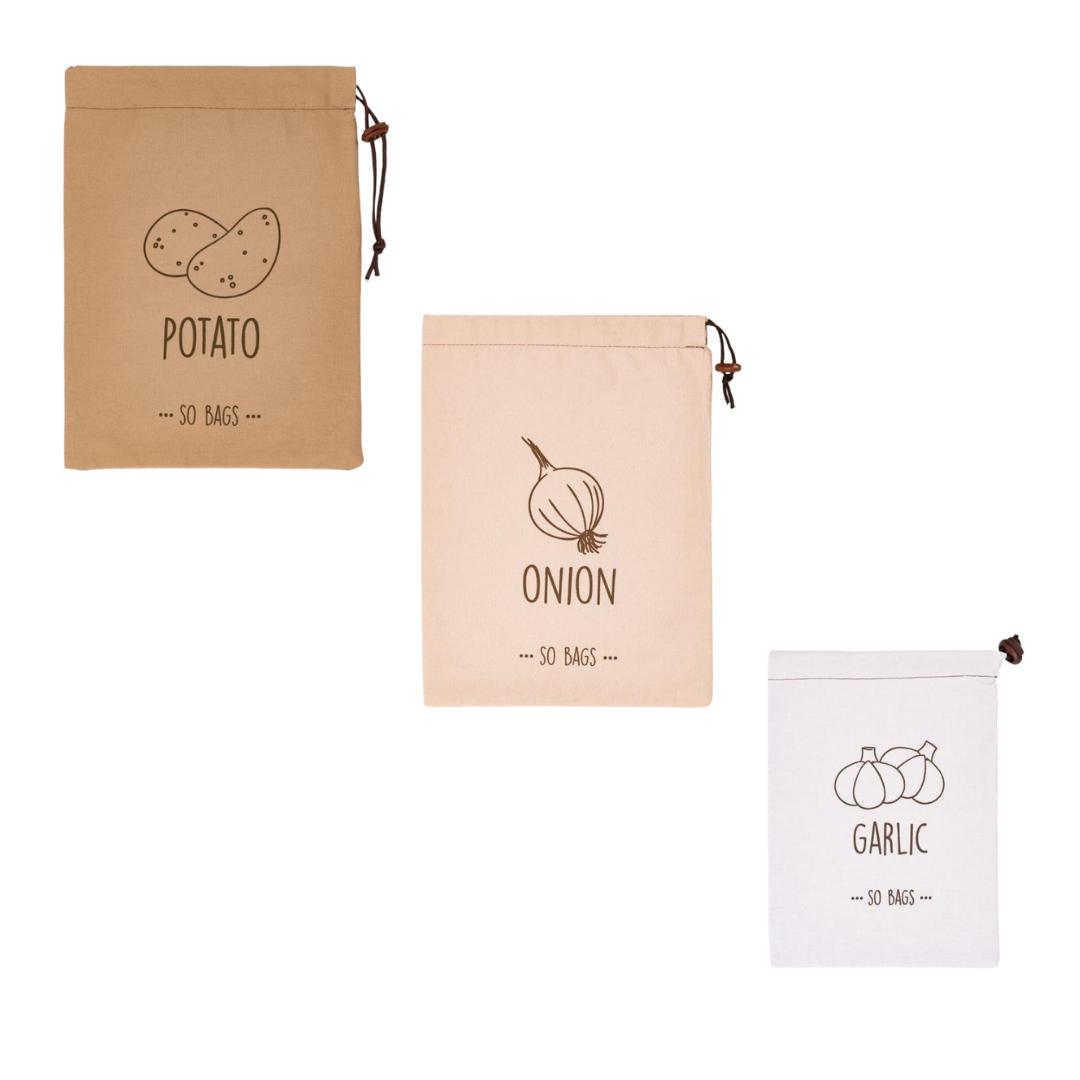 Kit Sacolas de Armazenagem Para Potato/Onion/Garlik So Bags