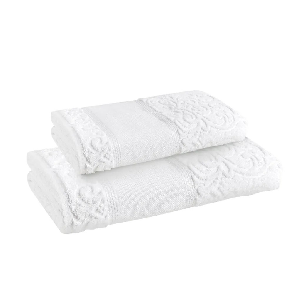 Kit Toalha Para Pintar Banho e Rosto - Melina 480g/m2 - Branco - Karsten