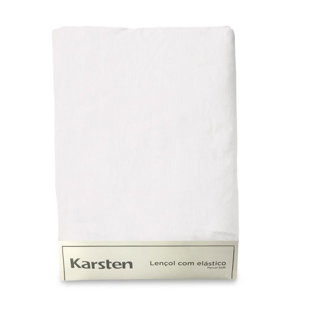 Lençol de elástico branco king size – percal soft extramacio karsten