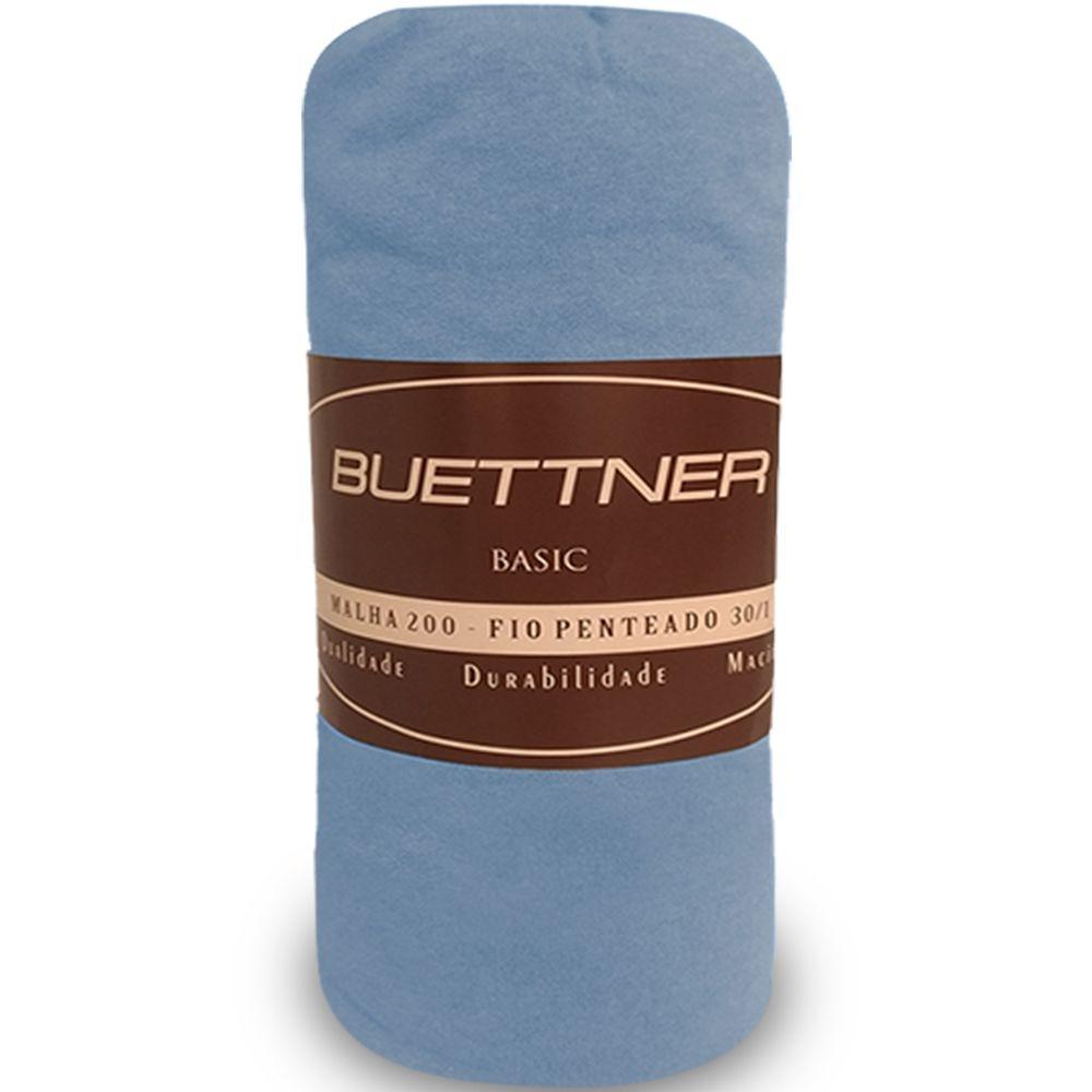 Lençol de Elástico em Malha Casal Basic Azul - Bouton Cotton