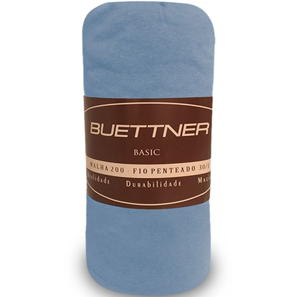 Lençol de Elástico em Malha King Basic Azul - Bouton Cotton
