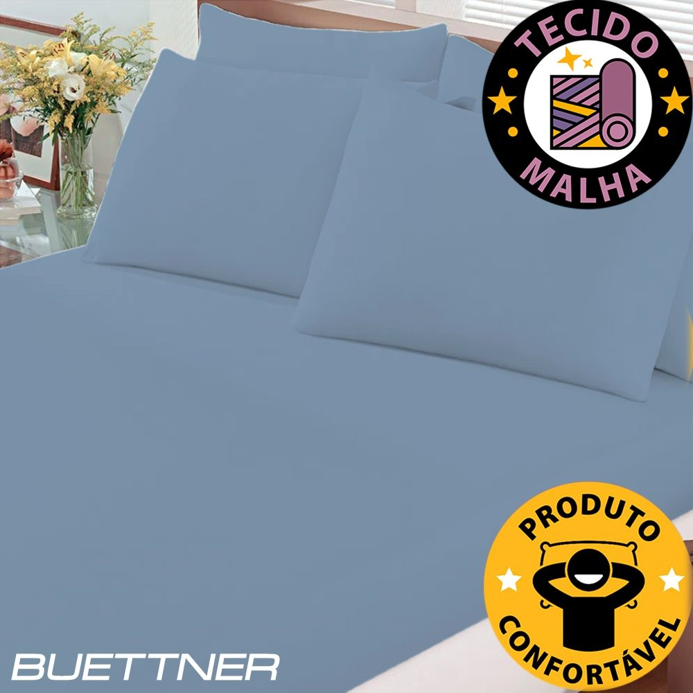 Lençol de Elástico em Malha Queen Basic Azul - Bouton Cotton