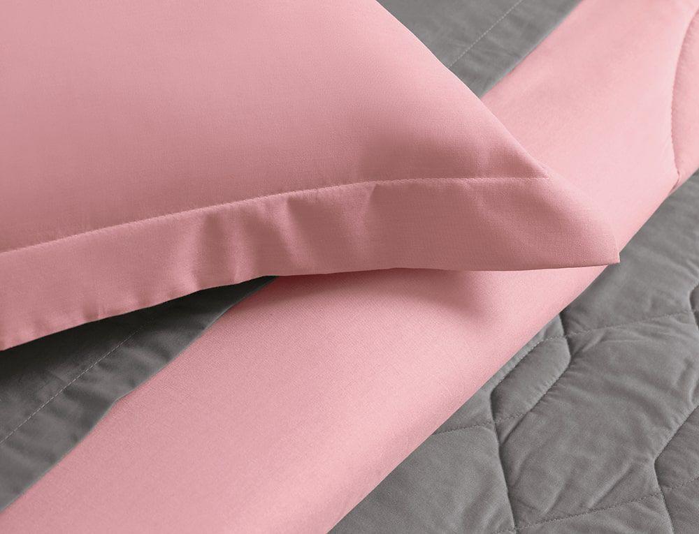 Lençol de Elástico Queen Rosa 100% algodão Karsten