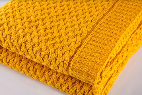 Manta Amarela Tricô 1,25x1,50m 100%Algodão Bassinet - ByTheBed