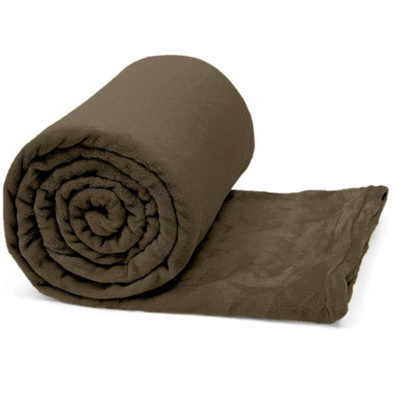 Manta Casal Flannel Comfy Marrom Chocolate Buettner