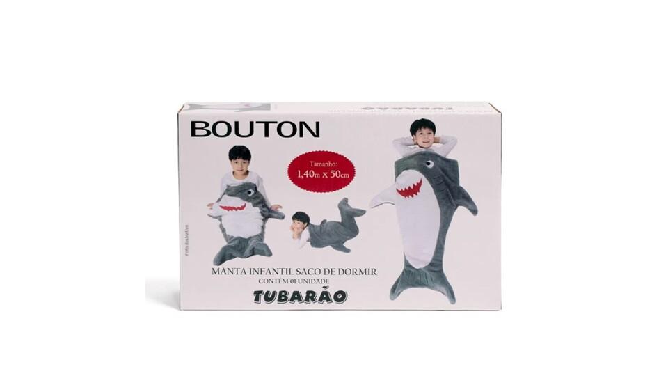 Manta Saco de Dormir Fleece Infantil de Tubarao Bouton