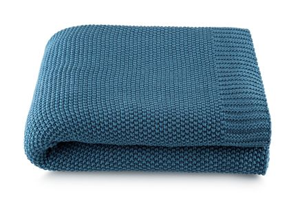 Manta Tricô Azul Petroleo 1,25x1,50 100%Algodão Loom ByTheBed