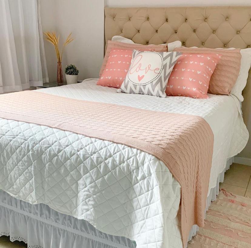 Peseira Tricot Clássico Rosé Claro Solteiro 140x60 Casa Paloma