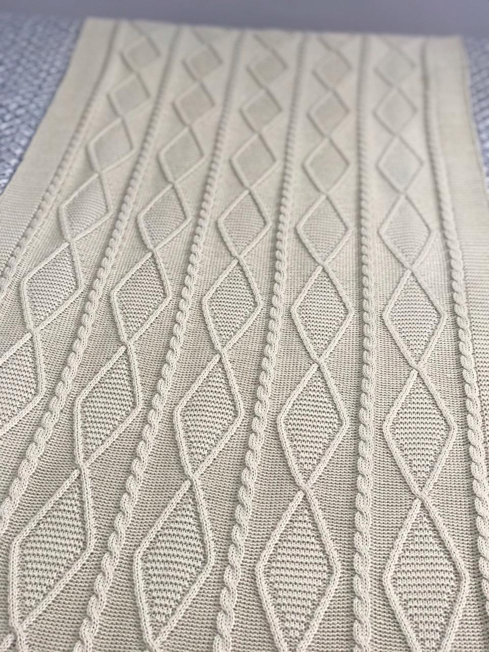 Peseira Tricot Geométrico Bege Queen 2,30x60 Paloma Home