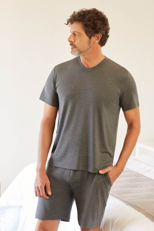 Pijama Masculino Trussardi Curto em Modal Mescolato Pietro GG