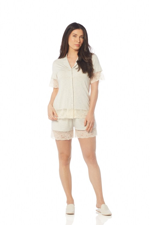 Pijama Trussardi Curto Modal com bordado Eugenia Lino Bege G