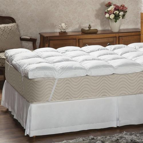 Pillow Top Queen Penas e Plumas Naturais Branco Percal 233 fios Premium Daune