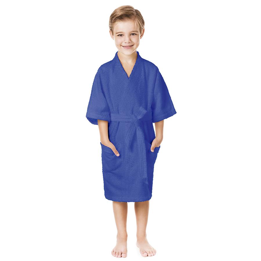 Roupão Infantil Azul Menino Felpudo M 8 a 10 Quimono Confetti - Lepper