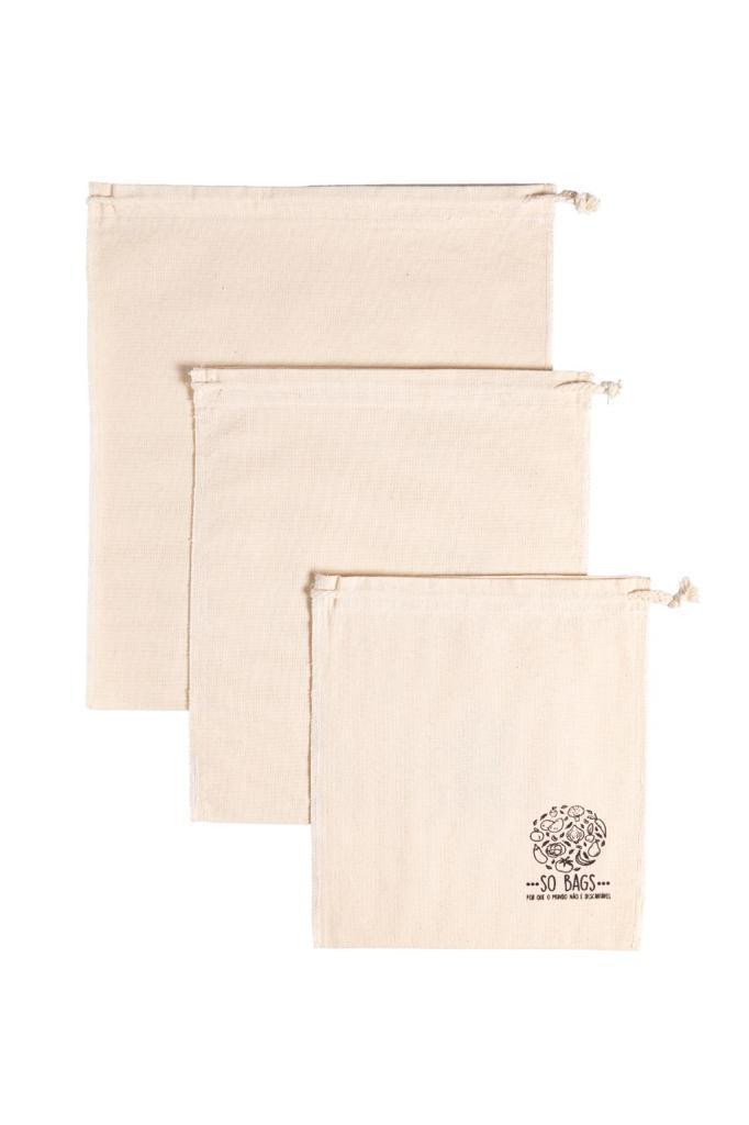 Sacolas Reutilizáveis em Algodão P/ Compras A Granel So Bags