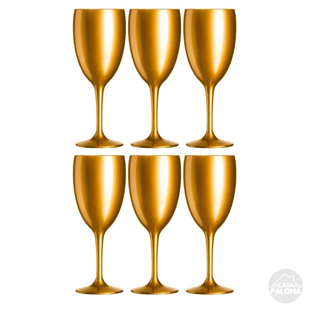 Taça para vinho e água em Acrílico 400ml Gold