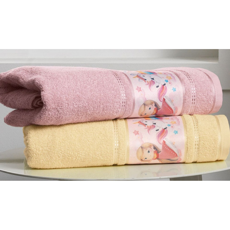 Toalha de Banho Infantil Encantada Princesa & Unicórnio Rosa Karsten