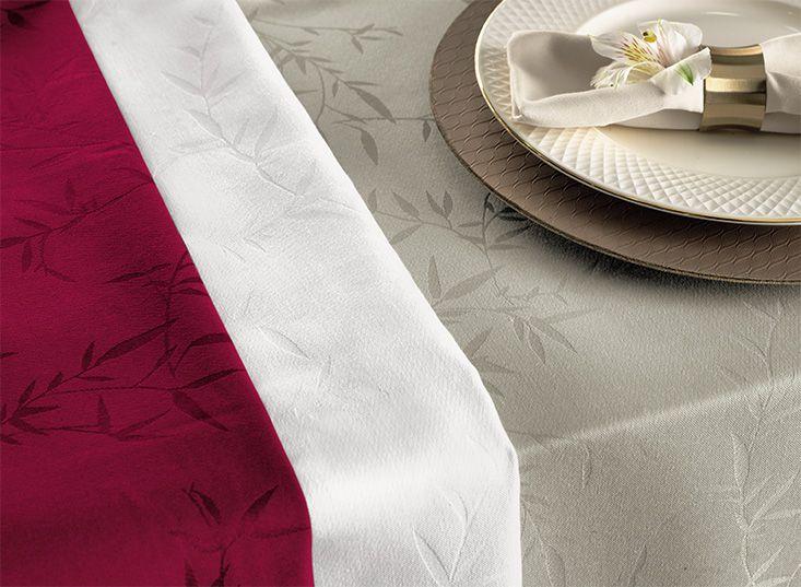Toalha de mesa 12 lugares retangular 1,60 x 3,20m  jacquard branco celebration veríssimo - karsten