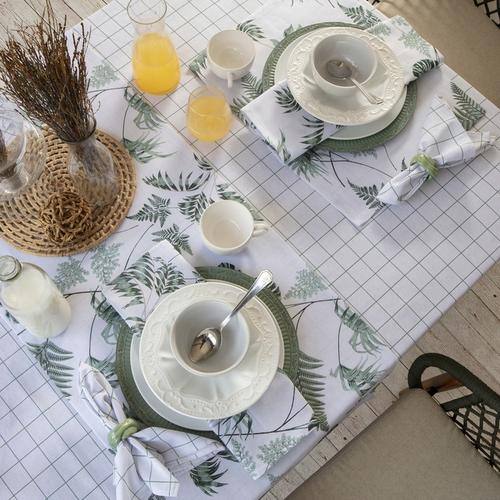 Toalha de mesa 6 lugares quadros Musgo Sempre limpa Naturalle
