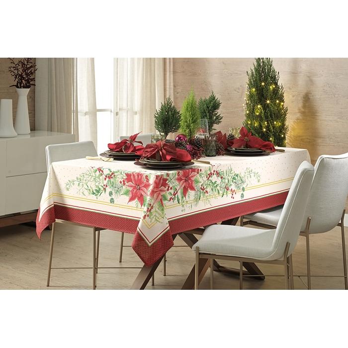 Toalha de Mesa de Natal Retangular Flores de Natal Retangular 8 lugares 140x250 Karsten