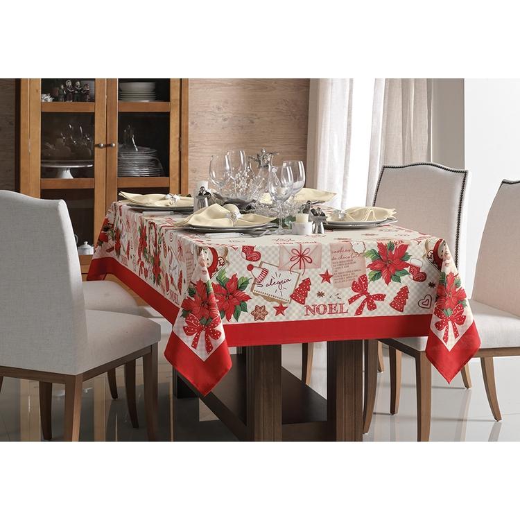Toalha de Mesa de Natal Retangular Receita de Noel Retangular 6 lugares 140x210 Karsten