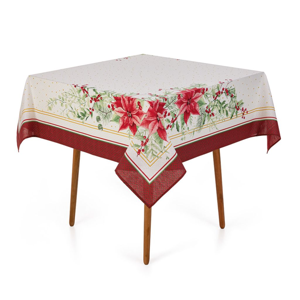 Toalha de Mesa Quadrada 140x140cm   Karsten - Flores de Natal