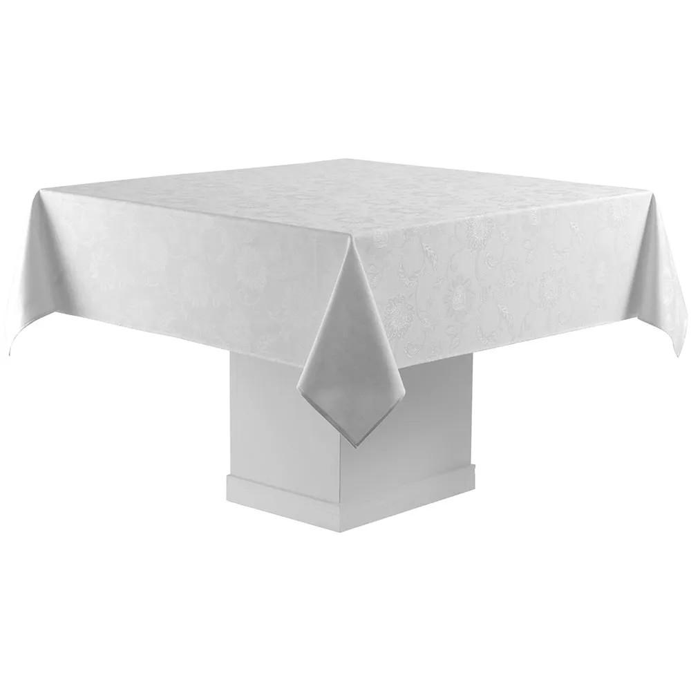 Toalha de mesa quadrada 8 lugares 2,20 x 2,20m sienna  jacquard alto padrão - tecnologia easy wash  - branca