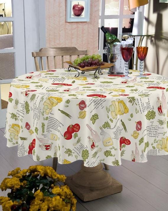 Toalha de mesa redonda 4 Lugares - Pratic limpa fácil Temperos - Raner
