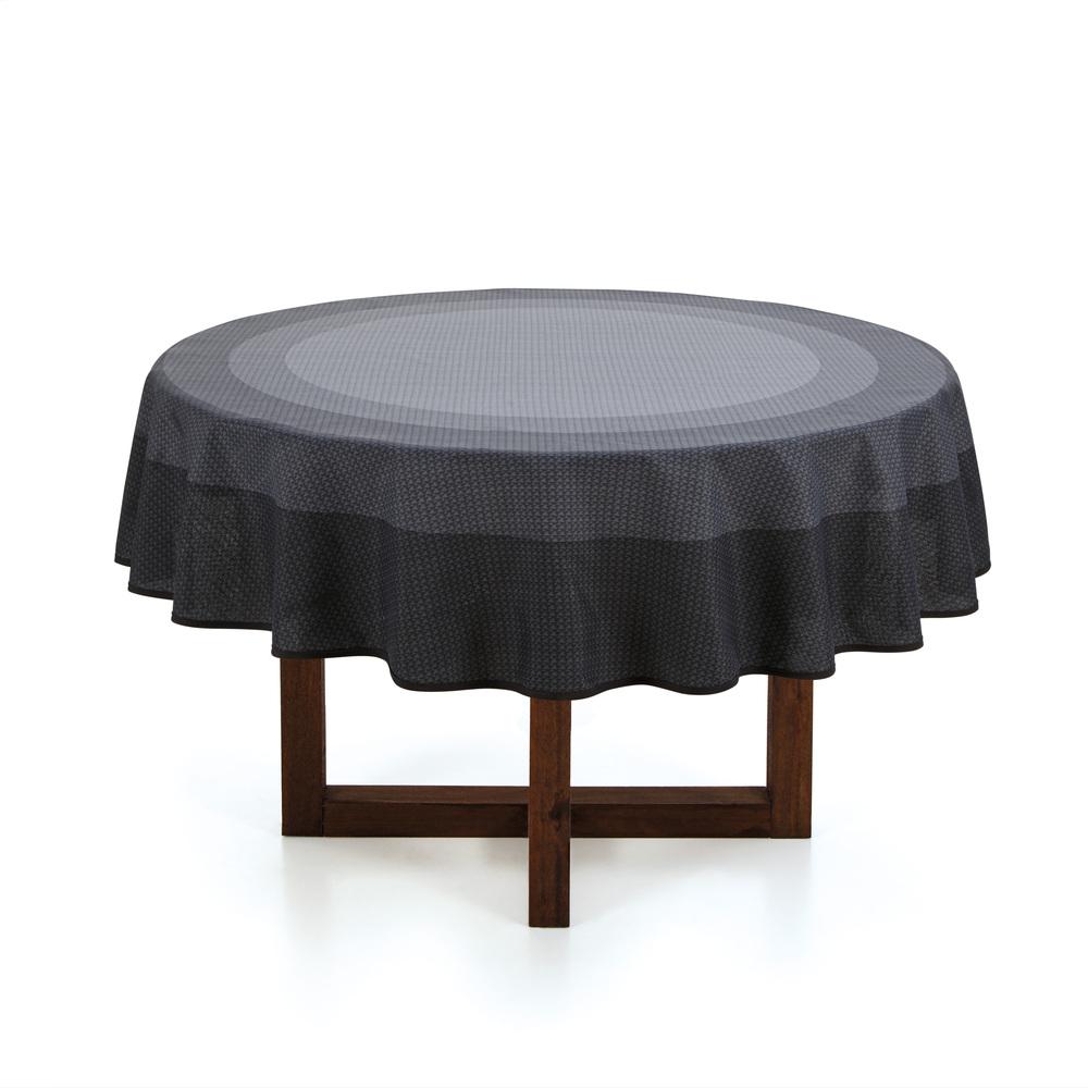 Toalha de mesa redonda 6 lugares - 1,78m - Tom Cinza - sempre limpa - karsten