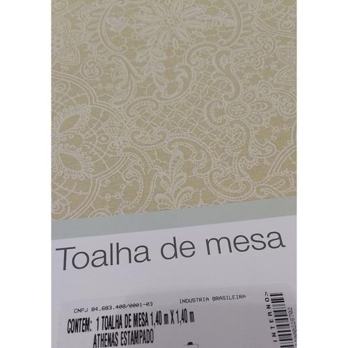 Toalha De Mesa Redonda Dohler 4 Lugares Clean Bege Limpa Fácil Athenas