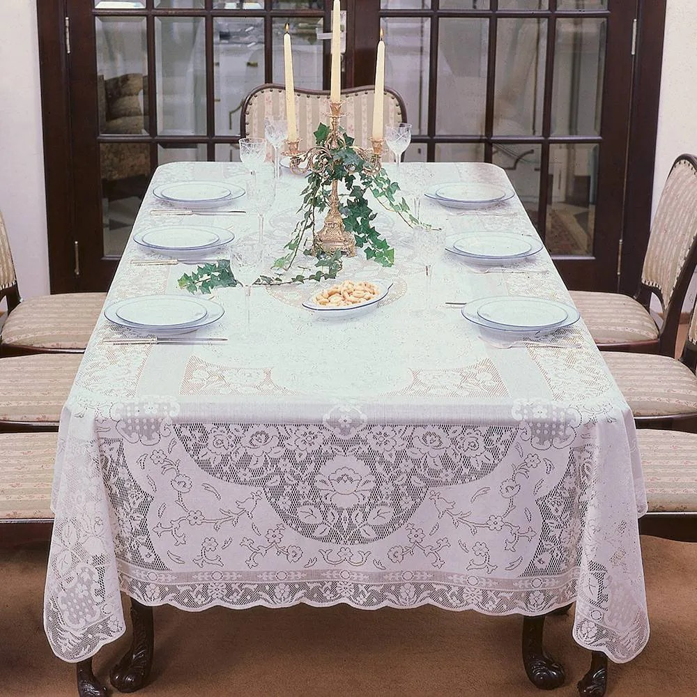 Toalha de Mesa Renda Branca 12 Lugares Retangular Dinner - Lepper