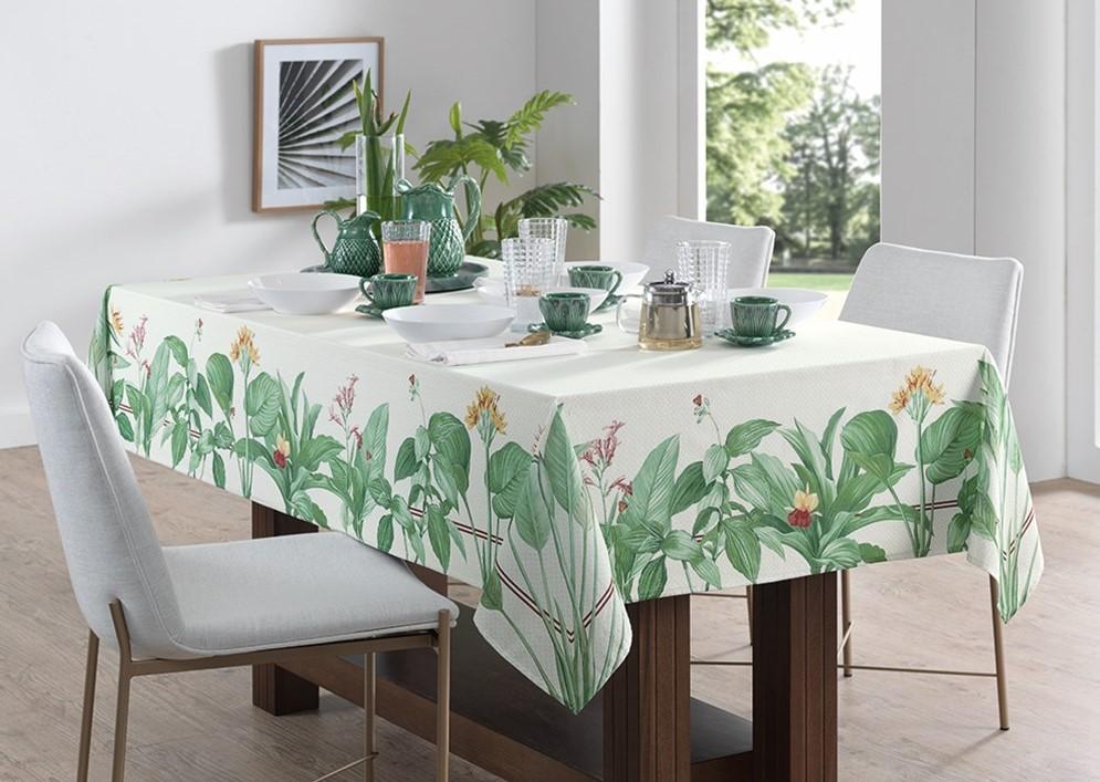 Toalha de Mesa Retangular 140x250 Carmênia folhas Karsten