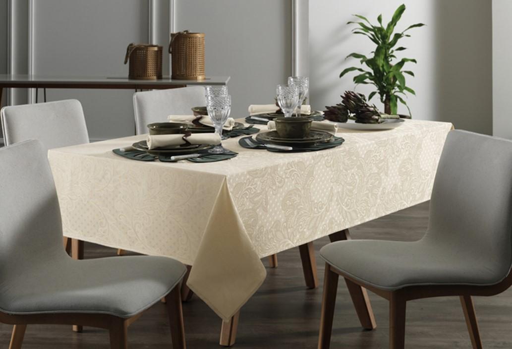 Toalha de mesa Retangular 160x270 Bege Natural Mendi Karsten