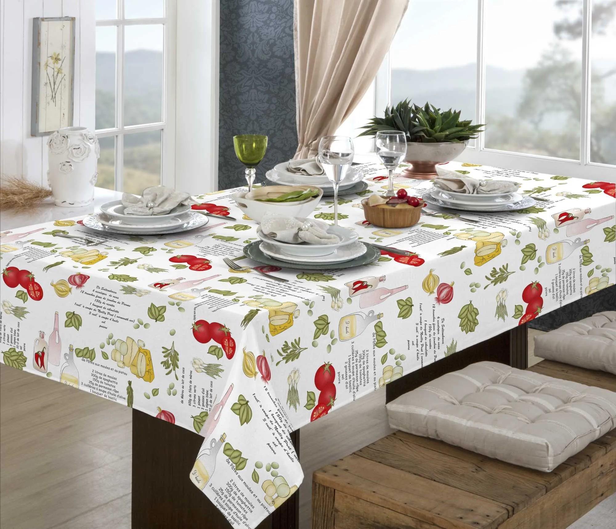 Toalha de mesa retangular 1,40 x 2,90 m -10 lugares - pratic limpa fácil  temperos - raner