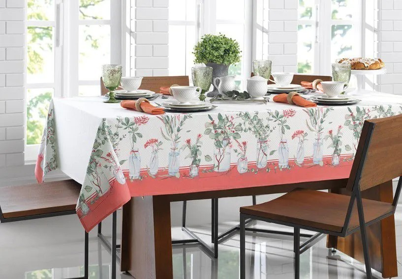 Toalha de mesa retangular 6 lugares 1,40x2,10m dia a dia - eucalipto  karsten