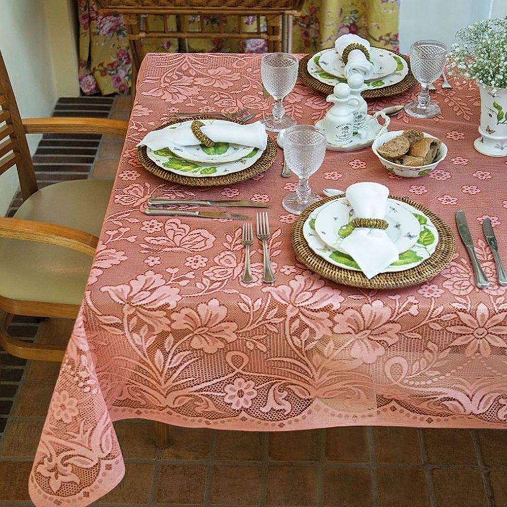 Toalha de Mesa Retangular 6 lugares 1,50 x 2,10 m renda Realeza salmão lepper