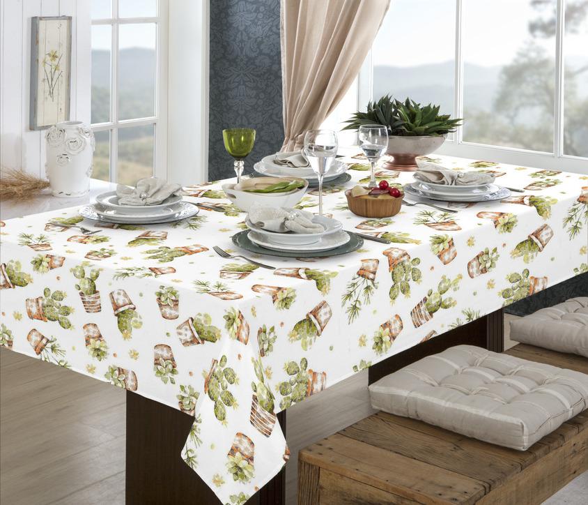 Toalha de mesa retangular limpa fácil - 12  lugares - 1,40 x 3,50 cactos  pratic raner