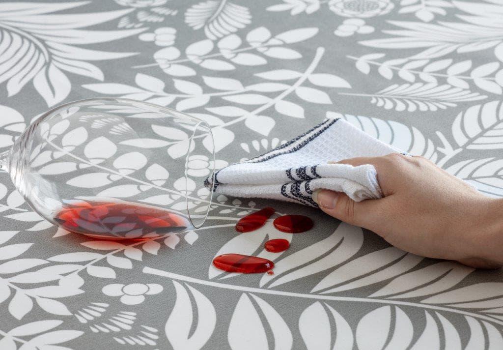Toalha de Mesa Retangular Limpa Fácil 6 Lugares Bege neutro Raner