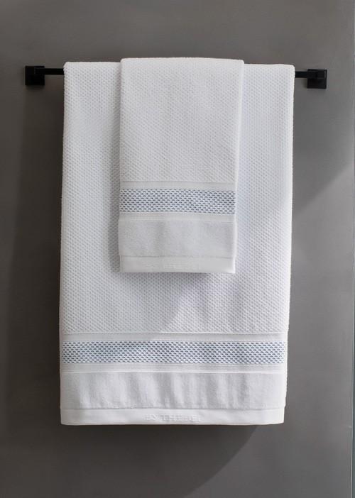 Toalha de Rosto 50x80cm Grand Branco/Azul - ByTheBed