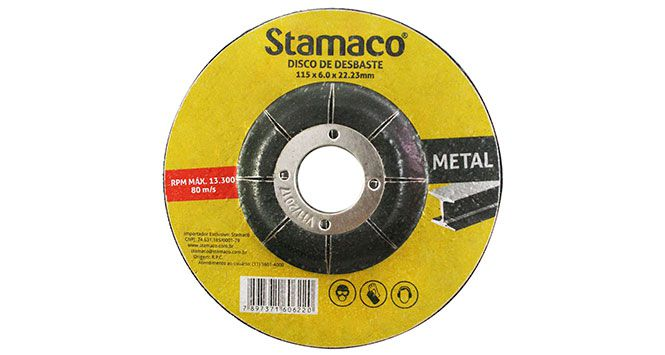 Disco Desbaste para Metal 115X6,0X22,23MM - Stamaco