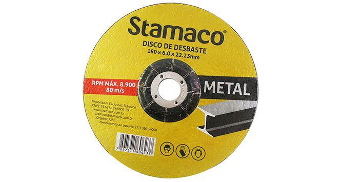 Disco Desbaste para Metal 180X6,0X22,23MM - Stamaco
