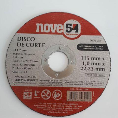 Disco de Corte Aço Carbono/Inox - G46 115mm x 1,0mm x 22,23mm - NOVE54