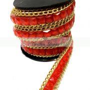 Manta Chaton Corrente Vermelha 1MT x 10,5CM - Altíssima Qualidade